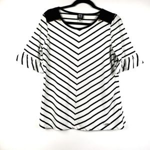 Anne Klein Sport striped short bell sleeve top